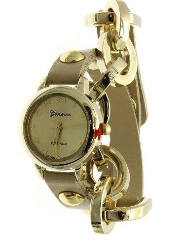 Geneva Reloj de cadena de piel sintética para mujer HUESO/dorado: Amazon.es: Relojes