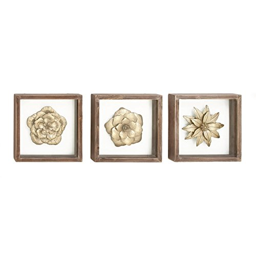 Gold Metal Flowers Framed Wall Art - Set of 3 Gold