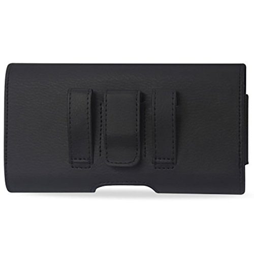 Reiko Large Size For Samsung Galaxy Note 5 / 4 / 3 Black Leather Wallet Pouch Clip Holster (Fits W/ Heavy Duty Hybrid Case) and Zoomazig Stylus