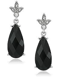 1928 Jewelry Silver-Tone Black Teardrop Earrings