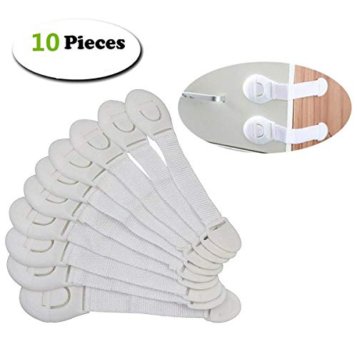 Price comparison product image Baby Safety Cupboard Strap Locks, Baby Proofing Locks for Cabinet, Strong Adhesive Child Door Locks with Adjustable Strap and Latch for Drawers,  Appliances,  Toilet Seat,  Fridge and Windows-10 Pieces