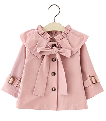 Kids Baby Girls Spring Fall British Style Princess Bowknot Outerwear Jacket Ruffle Windproof Trench Coat (1-2Years/85, (Fall Trench)