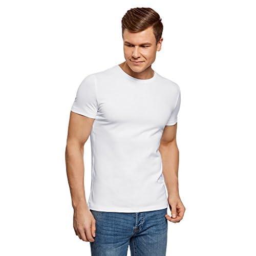 oodji Ultra Hombre Camiseta de Algodón a Rayas Sin Etiqueta RuD1l