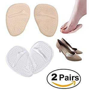 Medical Gel Forefoot Shoe Insole Metatarsal Pads Ball of Foot Cushions for Women High Heels to Pain Relief, 2 Pairs (Clear + Skin). Dr.Eagle foot care (®) Golden Eagles