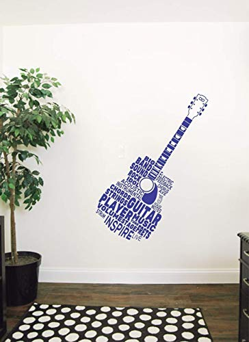 Wallency Guitar Shaped Words Wall Decal - Guitar Neck Removable Wall Sticker