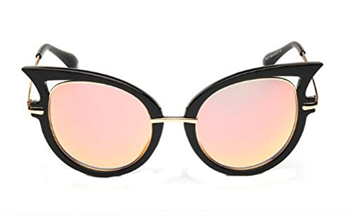 GAMT New Fashion Round Cateye Mirrored Sunglasses For Women Classic Style Black Frame Orange Lens