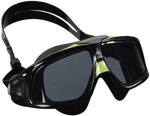 (Aqua Sphere Seal 2.0 Swim Mask with Smoke Lens. Lightweight & Comfortable UV Protection Swimming Goggles for Adults (Black/Green).)