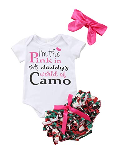 Kids Baby Girls Sleeveless Dress Ruffle Shorts Camo Romper Lace Tulle Short Halter Tops Tulle Shorts Summer Outfits (Camouflage, 0-6 Months)]()