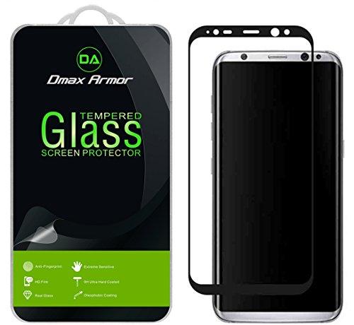 Samsung Galaxy S8+ / S8 Plus Screen Protector, [Full Screen Coverage] Dmax Armor Tempered Glass Anti-Scratch, Anti-Fingerprint, Bubble Free, (Black)