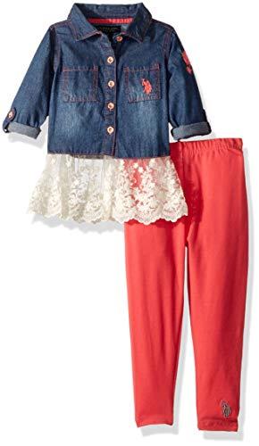 U.S. Polo Assn. Girls' Little Fashion Pant Set, Denim Top with Lace Trim Medium Wash, 5/6