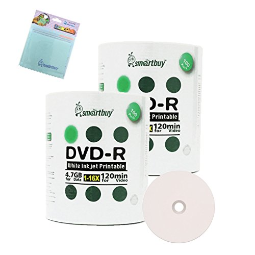 Smartbuy 200-disc 4.7GB/120min 16x DVD-R White Inkjet Hub Printable Blank Media Disc + Free Micro Fiber Cloth by Smartbuy