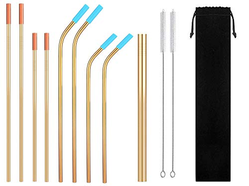 Eskyhouse Golden Metal Straws, 9Pcs Gold Reusable Steel Drinking Straws With Ultra Wide Smoothie Straw For Yeti 20oz 30oz 40oz Tumblers 2 Clean Brsuhes 8 Silicone Tips 1 Carrying Bag ()