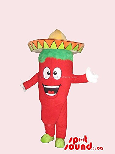 Chilli Pepper Costumes (Mexican Chilli Pepper Spicy Vegetable Peculiar Mascot SpotSound US With Hat)