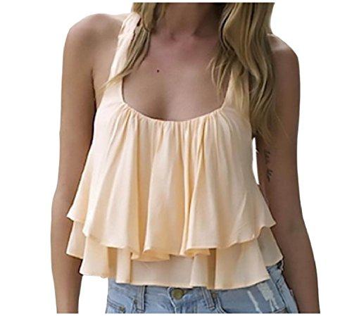 原告メイン必要とするNicellyer 女性の背部の固体色のついたフラウンス付きシフォンベストタンクトップシャツ