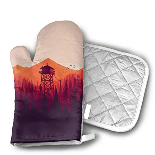 HEPKL Oven Mitts and Potholders Tower in The Forest Non-Slip Grip Heat Resistant Oven Gloves BBQ Cooking Baking -