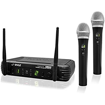 Professional Wireless Microphone System - Dual UHF Band, Wireless, Handheld, 2 MICS With 8 Selectable Frequency Channels, Independent Volume Controls, ...