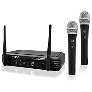 Professional Wireless Microphone System – Dual UHF Band, Wireless, Handheld, 2 MICS With 8 Selectable Frequency Channels, Independent Volume Controls, AF & RF Signal Indicators – Pyle PDWM3375