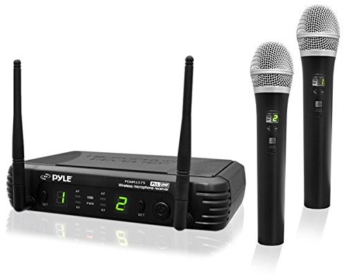 Microphone Handheld Paging (Professional Wireless Microphone System - Dual UHF Band, Wireless, Handheld, 2 MICS With 8 Selectable Frequency Channels, Independent Volume Controls, AF & RF Signal Indicators - Pyle PDWM3375)