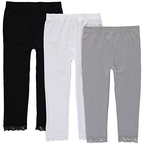 Star Ride Girls' Lace Trim Leggings - 3 Pack (7/16, Black, White & Grey)
