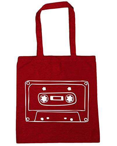 HippoWarehouse Mixtape illustration Tote Shopping Gym Beach Bag 42cm x38cm, 10 litres Classic Red