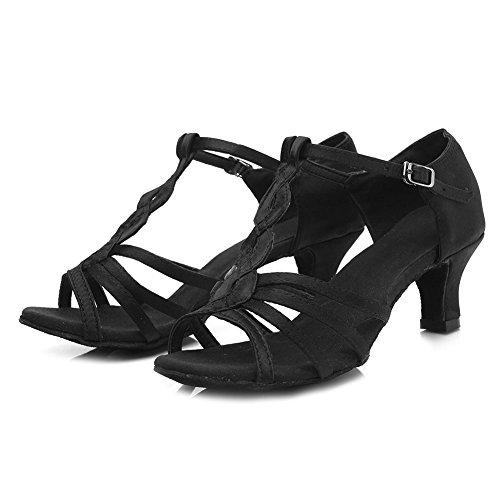 pour de Satin Latine Modèle HROYL Danse de Danse 5CM Chaussures Chaussures Femmes Ballroom Noir 230 wnpYtgq