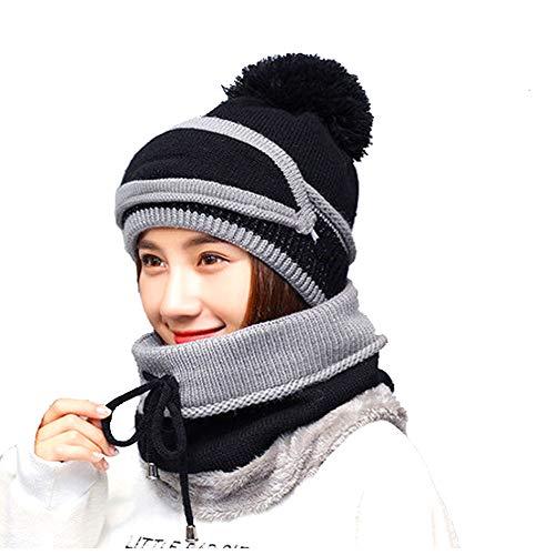 (Women Velvet Knit Peruvian Beanie Hat with Mask Winter Earflap Pom Cap Ski Hat (Black))