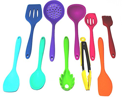 Silicone Utensil set Colorful 10 piece set includes spatula, tongs, large slotted spoon, ladle, slotted spoon, slotted turner, basting brush, pasta fork spoonula and spoon