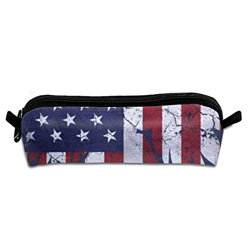 - Stylish Pencil Bag American Flag Patriotic Carrying Case Zipper School Office Supplies Coin Organizer Cosmetic Bag - One Pocket Travel Accessories Back to School