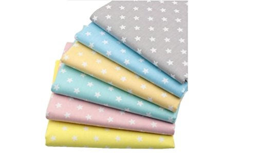 6pcs/lot 40cm50cm Stars Serie 100% Star Cotton Fabric Patchwork Quilting Cloth DIY Handmade Tissue Baby Bed Sheet Material (Star Bass Series)