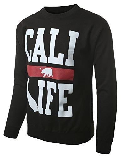 URBANCREWS Mens Hipster Hip Hop California Republic Bear Swearshirt BLACK MEDIUM