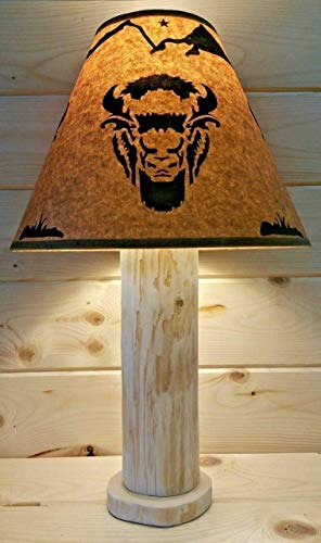 """Buffalo Rustic Log Lamp Authentic Western Red Cedar with FREE 12"""" Parchment Paper Lampshade! Made in USA! Rustic Log Furniture Primitive Northwoods Lodge Western Ranch Decor"""