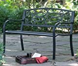 Outdoor Patio Bench Metal - 4 Ft, Scroll Curved Back, Black