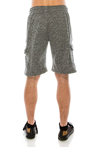 KlothesKnit Men's Classic Cargo Fleece Elastic Waist Sweat Shorts with Pockets Large Grey by KlothesKnit (Image #3)