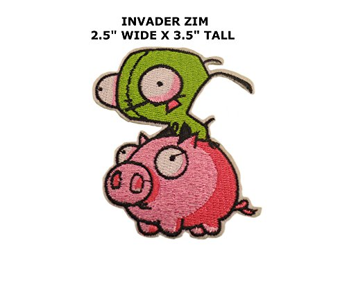 Invader Zim Cosplay Costumes (Cartoon Invader Zim Gir & Pig Iron or Sew-on Patch)