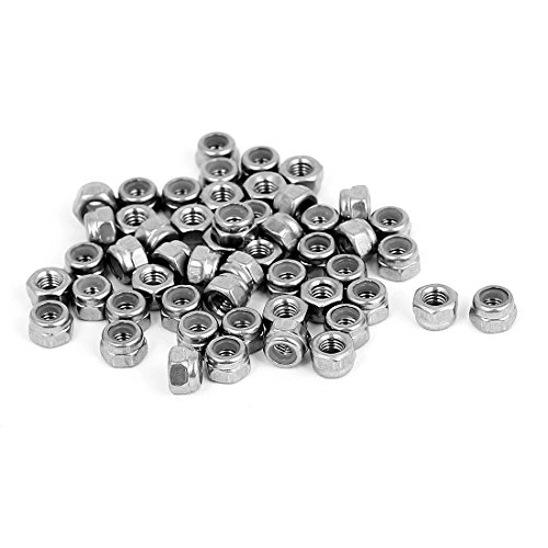 Uxcell a15071300ux0538 M3 x 0.5mm Stainless Steel Nylock Nylon Insert Hex Lock Nuts (Pack of 50)