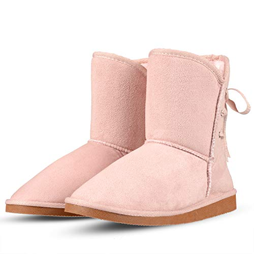 KushyShoo Winter Boots for Women, Classic Tall Fully Fur Lined Snow Boots Shearling Ankle Snow Warm Shoes,9.5-10.5 M US