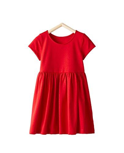 HUAER& Baby Girl Dress Cotton Summer Short Sleeve Dress Child Cartoon Pattern Stripe Dress (6T, Red) (Striped Monkey Red)