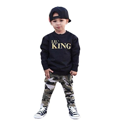 Toddler Baby Boy Letter T shirt Tops + Camouflage Pants Outfits Clothes Set (120, Black)