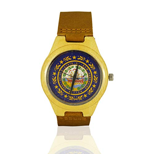 Handmade Wooden Watch Made with Natural Bamboo with State of New Hampshire Seal - New Hampshire State Seal