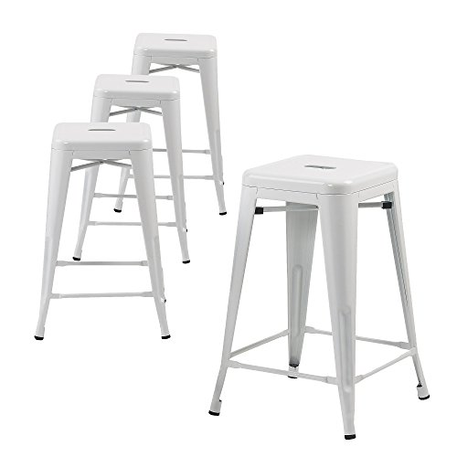 Buschman Set of Four White 24 Inches Counter Height Metal Barstools, Indoor, Outdoor, Stackable