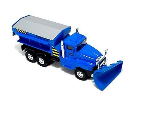 """6"""" Cool Blue Diecast Snow Plow Salt Truck with Pull Back and Go Action"""