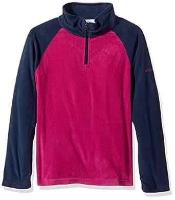 Columbia Girls' Big Glacial Fleece Half Zip Jacket, Deep Blush, Collegiate Navy, Large