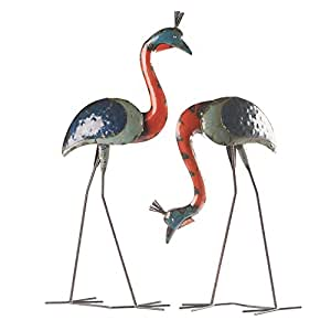 Crested Cranes Garden Art - Recycled Iron Garden Decor Lawn Ornaments - Set of 2