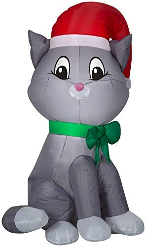 Airblown Inflatables Christmas Decor 3.5' Cat with Santa Hat