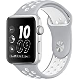 SELLERS360 Soft Durable Nike + Sport Replacement Wrist Strap for iWatch Series 1 Series 2 Apple watch band (Silver/White 42mm M/L)