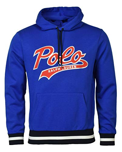 Polo Ralph Lauren Men's Double-Knit Graphic Logo Hoodie - L - Blue