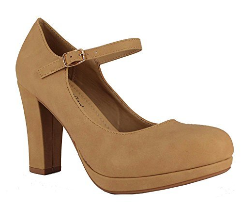 Inch 1/2 Heel Shoes Chunky - Comfy Foam Padded Vintage Chunky Block High Heel Mary Jane Pump Natural Beige