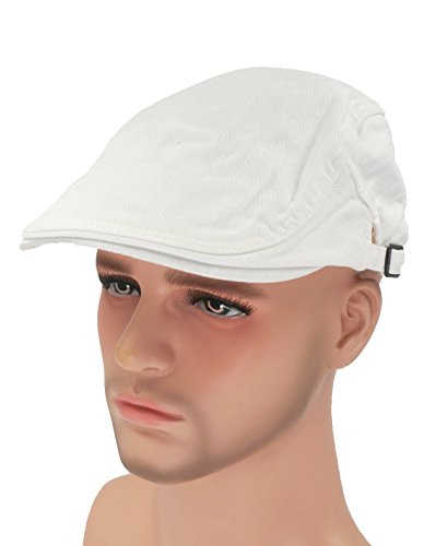 Roffatide Solid Color Canvas Strap Newsboy Cap Driving Cabby Ivy Golf Beret Hat White -