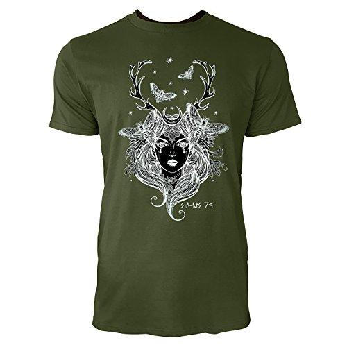 SINUS ART® Frau mit Hirschgeweih und Motten Herren T-Shirts in Armee Grün Fun Shirt mit tollen Aufdruck