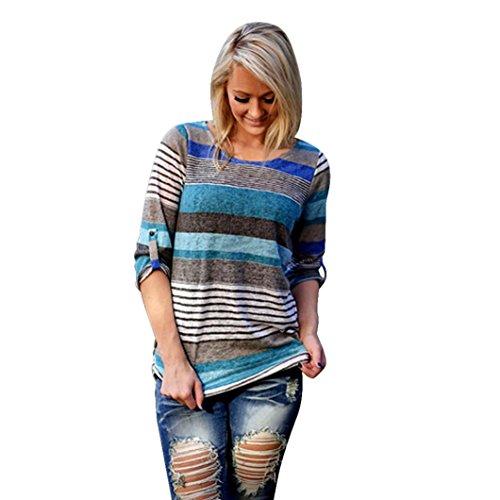 Christmas Gift, Egmy Women's Striped 3/4 Sleeve Top Blouse Casual T-Shirt (XXL, (Drop Them Mens T-shirt)